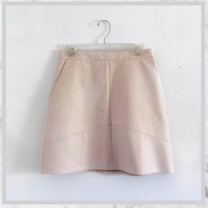 Zara Light Pink Faux Leather A Line Skirt